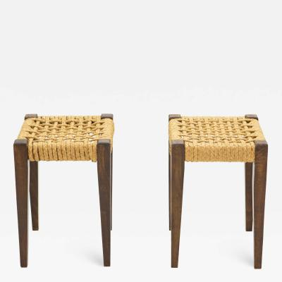 Adrien Audoux Frida Minet Pair of stools rope and oakwood by Audoux Minet 1950s