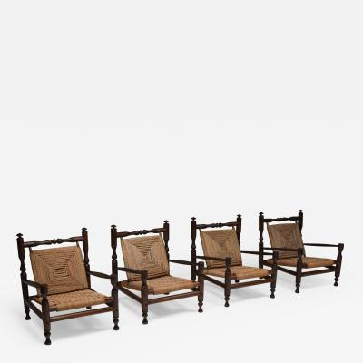 Adrien Audoux Frida Minet Rustic Modern French Rush Armchairs In Stained Wood 1970s