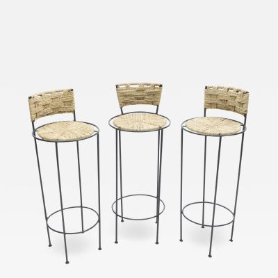 Adrien Audoux Frida Minet Set of 3 french bar stools rope and metal by Audoux Minet 1950s