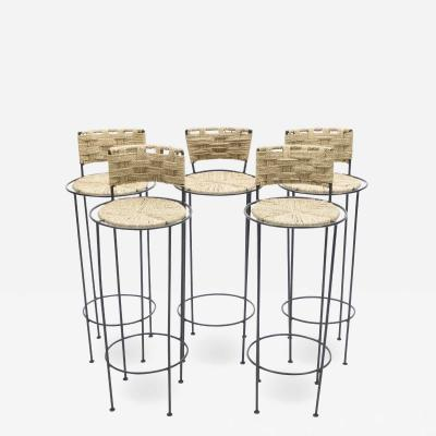Adrien Audoux Frida Minet Set of 5 french bar stools rope and metal by Audoux Minet 1950s