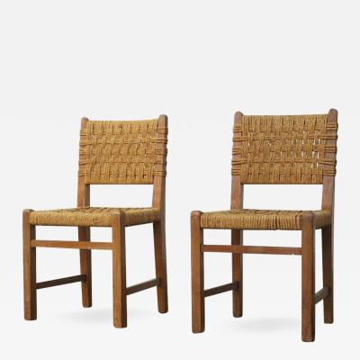 Adrien Audoux Frida Minet Very Rare Pair of Side Chairs by Audoux et Minet Sissal Rope for Vibo Vesoul