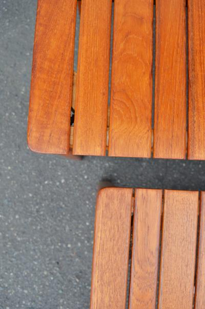 Alberts Clever Solid Teak Slat Bench Coffee Table w Pair of Nesting Slat Benches Tables