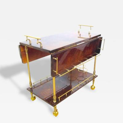 Aldo Tura Aldo Tura Lacquered Goatskin and Polished Brass Expandable Rolling Bar Cart