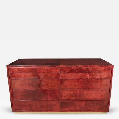 Aldo Tura Aldo Tura Red Parchment Commode with Ten Drawers