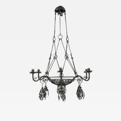 Alessandro Mazzucotelli Alessandro Mazzucotelli Chandelier in Wrought Iron