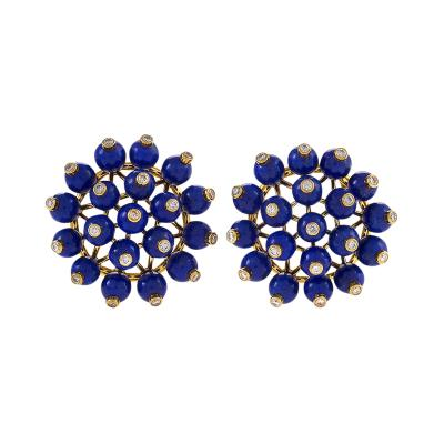 Aletto Brothers Gold Diamonds and Lapis Lazuli Earrings by Aletto Brothers