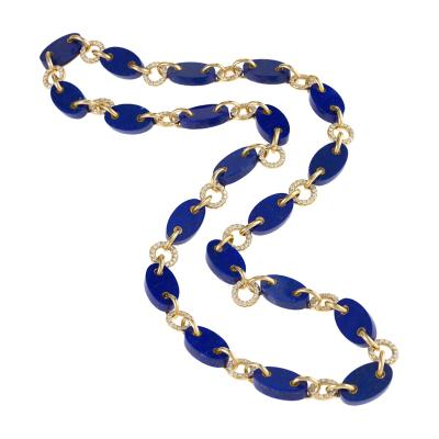 Aletto Brothers Gold Necklace with Diamonds and Lapis Lazuli by Aletto Brothers