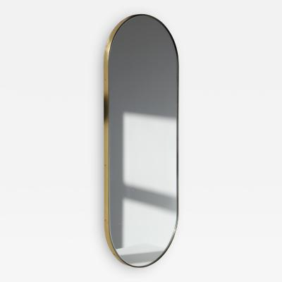 Alguacil Perkoff Ltd Capsula Capsule shaped Narrow Mirror with a Brass Frame