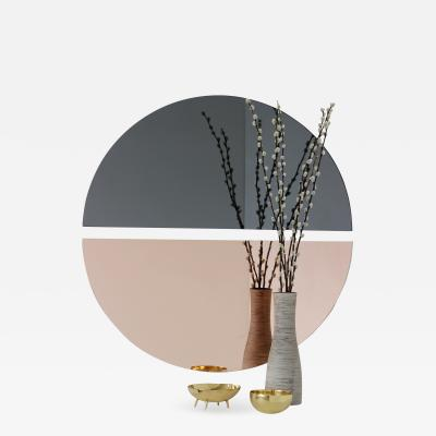 Alguacil Perkoff Ltd Luna Round 2 Half Moon Pieces Mixed Black Rose Frameless Mirror