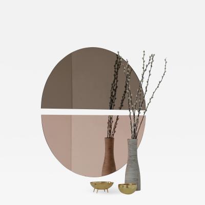 Alguacil Perkoff Ltd Luna Round 2 Half Moon Pieces Mixed Bronze Rose Frameless Mirror