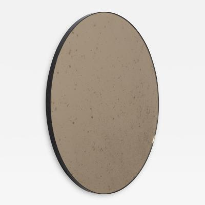 Alguacil Perkoff Ltd Orbis Antiqued Bronze Tinted Round Elegant Mirror with a Black Frame