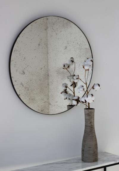 Alguacil Perkoff Ltd Orbis Antiqued Round Mirror with a Bronze Patina Frame