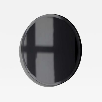 Alguacil Perkoff Ltd Orbis Beveled Black Round Frameless Mirror with Faux Leather Backing