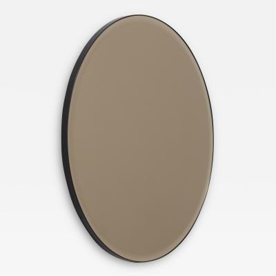 Alguacil Perkoff Ltd Orbis Beveled Round Bronze Tinted Mirror with a Black Metal Frame