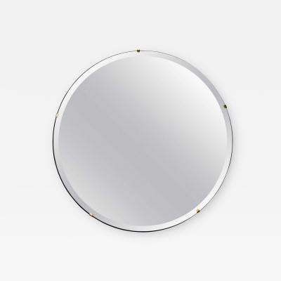 Alguacil Perkoff Ltd Orbis Beveled Round Frameless Modernist Mirror with Brass Clips
