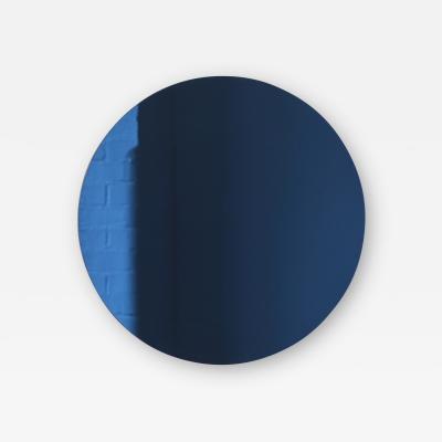 Alguacil Perkoff Ltd Orbis Blue Tinted Round Frameless Minimalist Mirror
