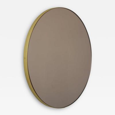 Alguacil Perkoff Ltd Orbis Bronze Tinted Round Elegant Mirror with Brass Frame