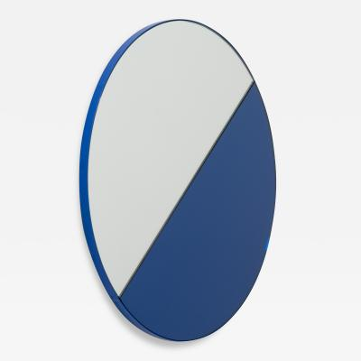 Alguacil Perkoff Ltd Orbis Dualis Mixed Blue Silver Contemporary Round Mirror with Blue Frame
