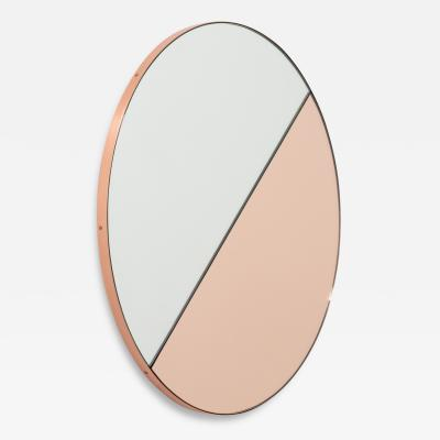 Alguacil Perkoff Ltd Orbis Dualis Mixed Rose Gold Silver Round Mirror with Copper Frame