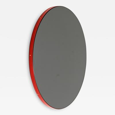 Alguacil Perkoff Ltd Orbis Round Black Tinted Contemporary Mirror with Red Frame