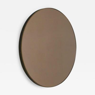 Alguacil Perkoff Ltd Orbis Round Bronze Tinted Contemporary Mirror with Brass Patina Frame