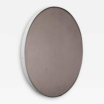 Alguacil Perkoff Ltd Orbis Round Bronze Tinted Contemporary Mirror with White Frame