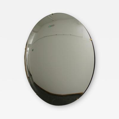Alguacil Perkoff Ltd Orbis Round Convex Frameless Mirror with Brass Clips