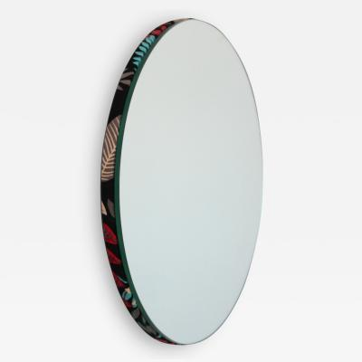 Alguacil Perkoff Ltd Orbis Round Frameless Mirror with a Chic Hand printed Floral Fabric Backing