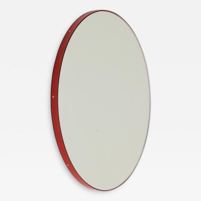 Alguacil Perkoff Ltd Orbis Round Modern Mirror with Red Frame