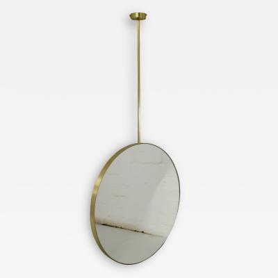 Alguacil Perkoff Ltd Orbis Round Suspended Bathroom Mirror with a brushed brass frame