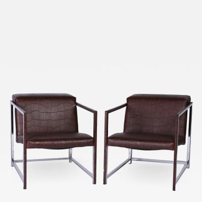 Alivar A pair of Bavuso Giuseppe style lounge chairs by Alivar contemporary