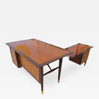 Alma Desk Company American Modern Lattice Front Desk with Return Alma Desks