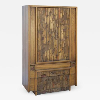 Altavista Lane Carved Brutalist Armoire by Lane