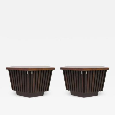 Altavista Lane Handsome Pair of American Modern Ribbed Walnut Nightstands Mid Century Modern