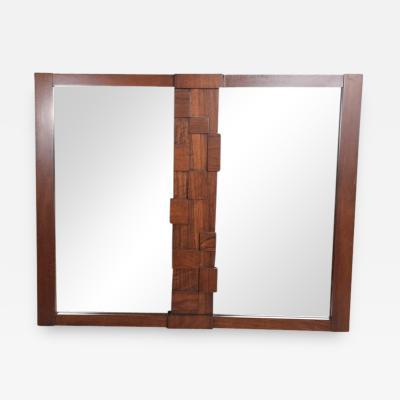 Altavista Lane Mid Century Modern Lane Brutalist Mirror in Walnut Wood Excellent