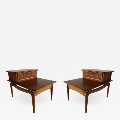 Altavista Lane Pair of American Modern Walnut 2 Tier Nightstands Lane Altavista