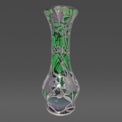 Alvin Silver Manufacturing Company Alvin Art Nouveau Sterling Silver Overlay Glass Vase c 1900