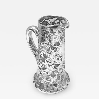 Alvin Silver Manufacturing Company Alvin Sterling Overlay Glass Jug Pitcher c 1900