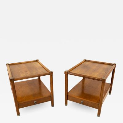 American of Martinsville American of Martinsville Mid Century Single Drawer Side Table Metal Accents Pair