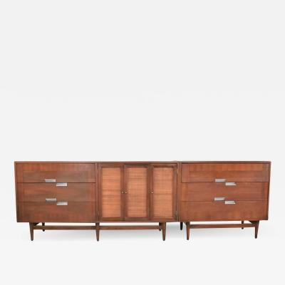 American of Martinsville American of martinsville accord walnut cane dresser bachelor s chest