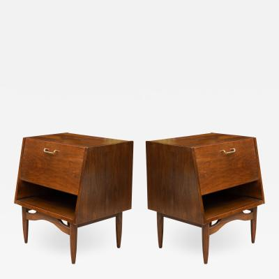 American of Martinsville Dania Nightstands in Walnut by Merton Gershun for American of Martinsville Pair