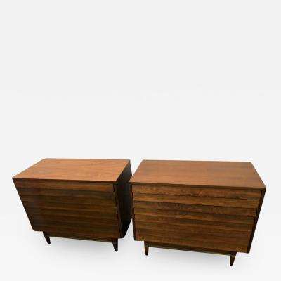 American of Martinsville Handsome Pair of American of Martinsville Walnut Brass Louvered Bachelors Chests
