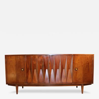 American of Martinsville Mid Century Danish Modern Walnut Diamond Front Credenza