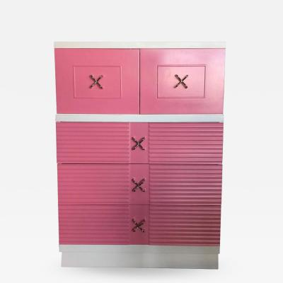 American of Martinsville Mid Century Pink and White Tall Chest of Drawers Dresser by Martinsville