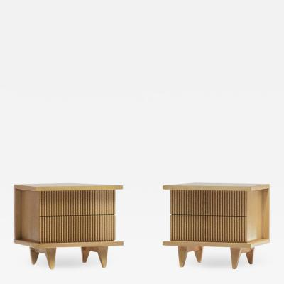 American of Martinsville PAIR OF BLEACHED PHILIPPINE MAHOGANY NIGHTSTANDS BY AMERICAN OF MARTINSVILLE