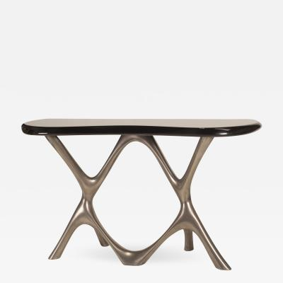 Amorph Amorph Avatar Console Table Nickel Finish Base and Black Lacquer