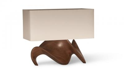 Amorph Amorph Bonsai Table Lamp in Walnut Wood Natural Stain with Ivory Silk Shade