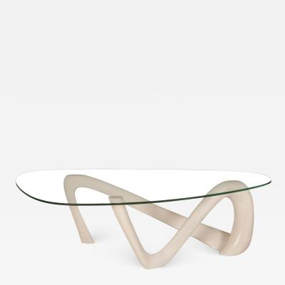 Amorph Amorph Iris Coffee Table in Whitewash and Glass Top