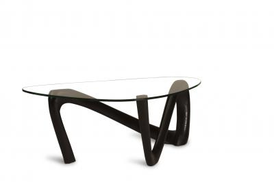 Amorph Amorph Iris Coffee Table with 1 2 Tempered Glass in Ebony Stain