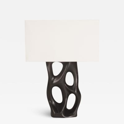 Amorph Amorph Loop Table Lamp in Ebony Stain on Ash Wood with Ivory Silk Shade